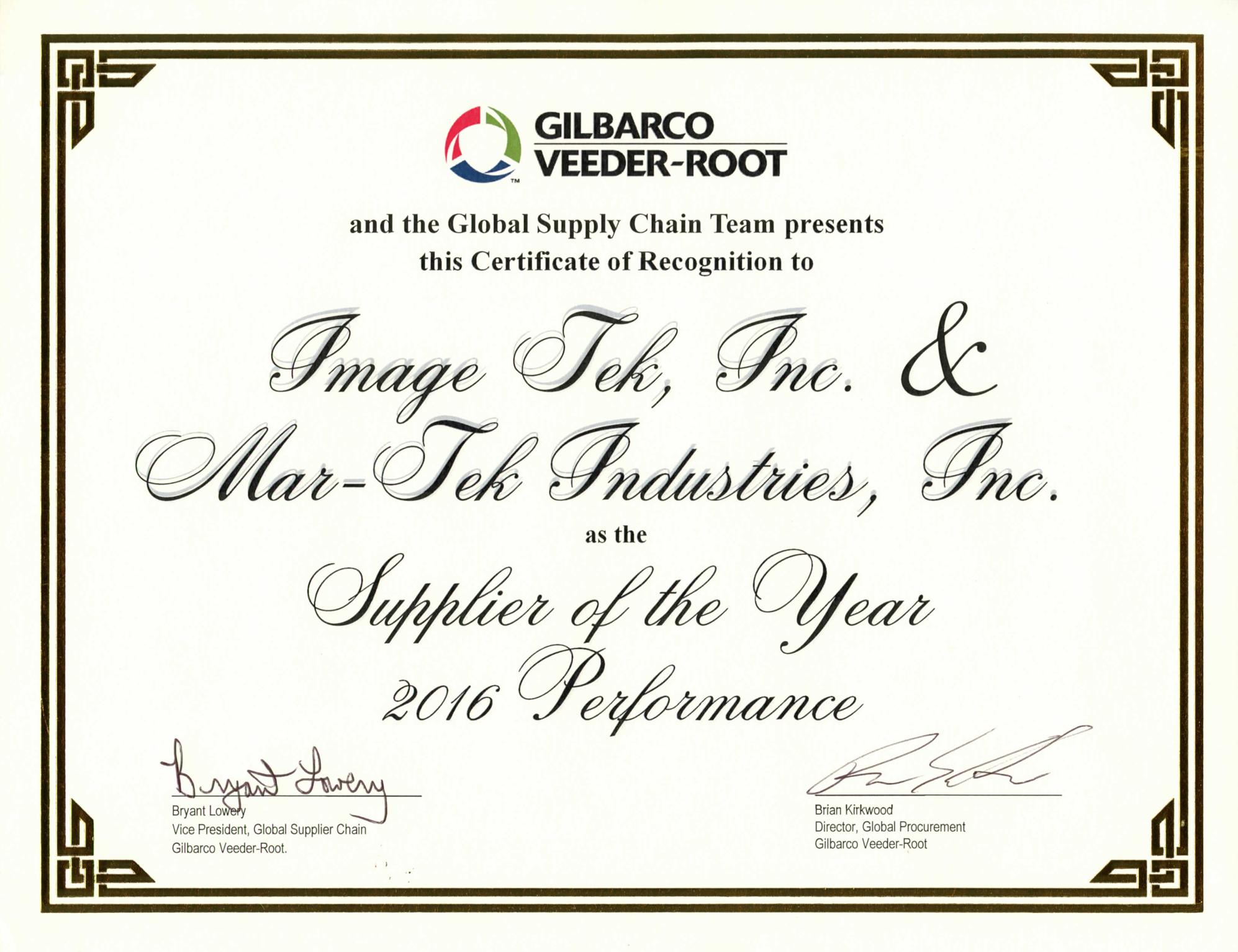 Gilbarco Veeder Root Presents Certificate Of Recognition Mar Tek